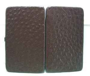 Large Framed Slim Leather Wallet- Looks like Ostrich/Chave'