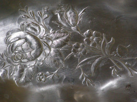 """Vintage Everlast Metal Hand Forged Serving Tray Roses w/ Handles 13"""" - $14.50"""
