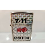 8 BALL / 7-11 GOOD LUCK LOGO FLIP TOP SILVER NEW LIGHTER / WORKS / NEVER... - $12.63