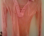 Guess jeans coral pink lace top thumb155 crop