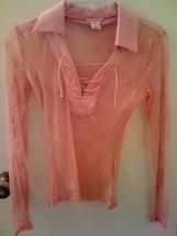 Guess jeans coral pink lace top thumb200