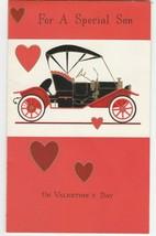 Vintage Valentine Card Model T Flocked Old Fashioned Car Unused Envelope... - $7.91