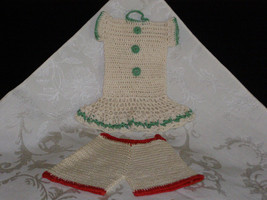 Vintage Crocheted Pot Holders One Girls Dress in Green and Pants in Red - $12.75