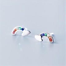 925 pure silver ear stud korean version small fresh set sweet rainbow cloud temperament thumb200