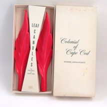 MIB Rare 1970s Colonial of Cape Cod Red Twisted Leaf Shape Candles Hyann... - $26.68
