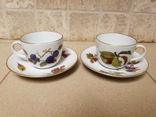 Set 2 Vintage Royal Worcester Evesham Tea Cup & Saucer England Plum Apples Plate image 2