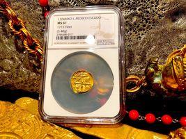 "MEXICO 1704 DATE 1 ESCUDO ""1715 PLATE FLEET SHIPWRECK"" NGC 61 PIRATE GOLD COINS image 4"