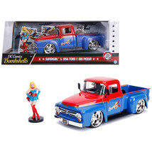 1956 Ford F-100 Pickup Truck Red and Blue with Supergirl Diecast Figure ... - $49.84