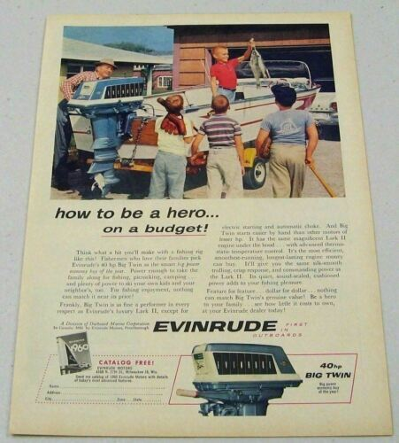 Primary image for 1960 Print Ad Evinrude 40 HP Big Twin Outboard Motors Dad,Boys,Fish,Boat