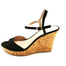 Charles David Woman Lambert Platform Wedge Sandal Black Ankle Strap Sz 1... - $39.59