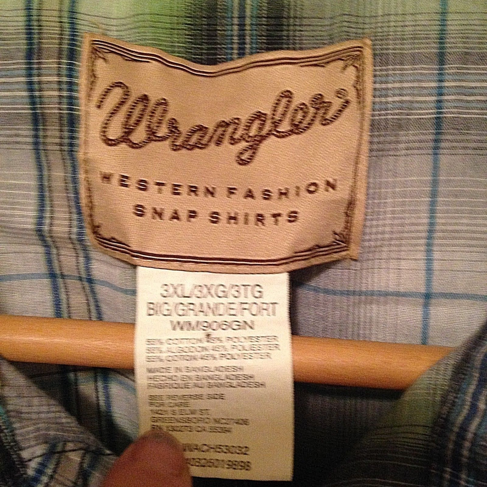 Wrangler Mens Western Shirt Plaid S/S Pearl Snap Green Blue 3XL Short Sleeve