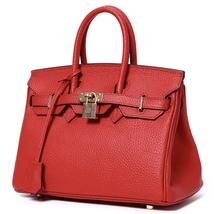 New 35cm Pebbled Leather Birkin Style Handbag Shoulder Bag Satchel Purse... - $159.95