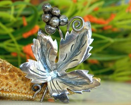 Vintage Taxco Mexico Sterling Leaf Grapes Brooch Pin Eagle 3 - $39.95