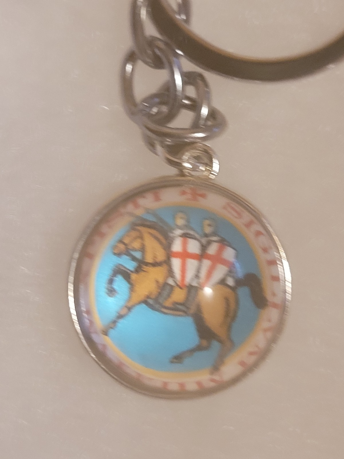 Classic Knights Templar Two Knights on Horse Sky Blue Circle Globe Pendant Key