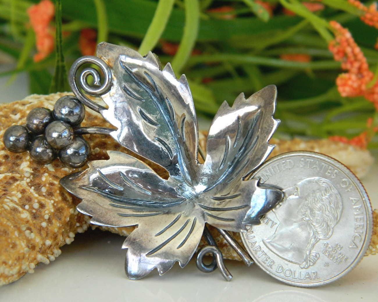 Vintage Taxco Mexico Sterling Leaf Grapes Brooch Pin Eagle 3