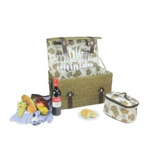 Northlight 4-Person Hand Woven Wheat Umber Brown Picnic Basket Set Acces... - €58,32 EUR