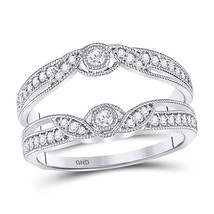14kt White Gold Round Diamond Flower Petals Ring Guard Enhancer Wedding Band - $660.00