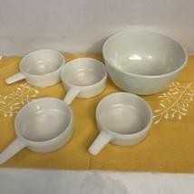 Set 4 Vintage Handled White Milk Glass Ovenware 14 OZ Soup Chili Cereal ... - $34.65