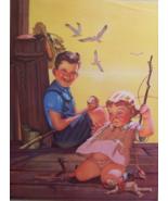 1950s Comic Calendar Children Fishing Print 12 ... - $9.00