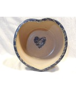 1992 Eldreth Pottery Salt Glazed Blue Sponge Large Heart Dish Baking Dish - $13.95