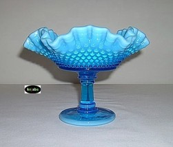 Westmoreland American Hobnail Compote Blue Opalescent image 2