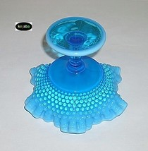 Westmoreland American Hobnail Compote Blue Opalescent image 4