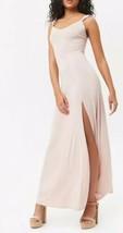Forever 21 Ruffle Strap Maxi Long Full Length Dress High Slit Pale Light... - $19.79