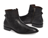 Handmade black zip boots ankle high dress formal boots men s leather strap boots thumb155 crop