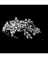 Vintage Inspired Silver Swarovski Crystal Pearl Side Accent Bridal Prom ... - €97,66 EUR