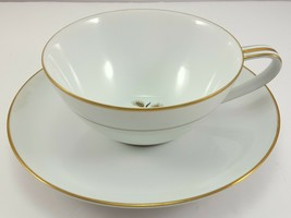 Noritake Wheatcroft 5852 Tea Cup and Saucer White and Gold 6 oz Coffee - $9.03