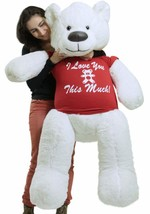 Giant White Teddy Bear Soft 55 Inch, Wears Removable Tshirt I LOVE YOU T... - $127.11
