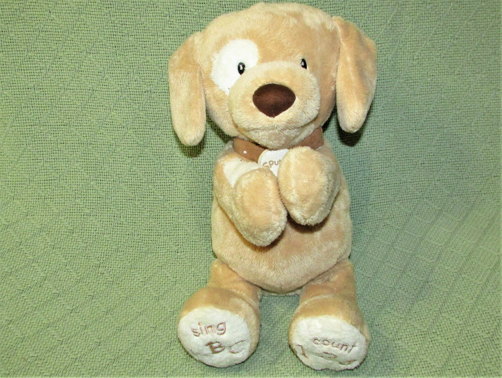 "Primary image for BABY GUND SPUNKY ANIMATED PUPPY DOG PLUSH ABC 123 SINGS TALKS 10"" TAN WHITE TOY"