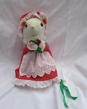 "Vintage Jerry Elsner Christmas Mouse plush red polka dot dress hat 10""  ... - $9.89"