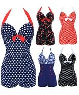 Pandolah Hot Women One Piece Bathing Suit Dotted Beachwear Push up Swims... - $32.77
