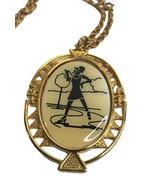 Vintage Signed JJ silhouette Diva Pendant Necklace Gold tone Metal  - $15.52