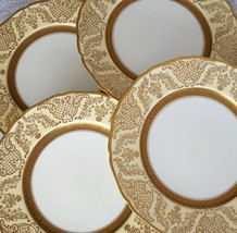4 Antique Edgerton Scalloped Edge Gold Japan PIckard China Charger Dinne... - $224.99