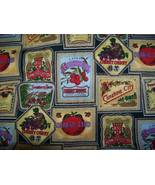 vintage 2.4 yards of berry label cotton fabric - $8.99