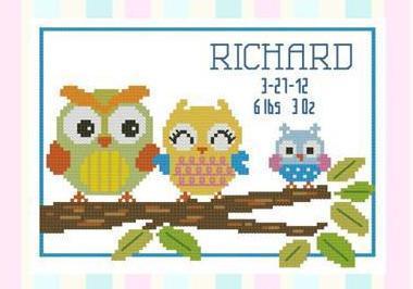 Hooties Baby Record Boy cross stitch chart Pinoy Stitch