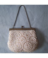 Vtg 50s irridescent white beaded evening bag Hong Kong - $9.99