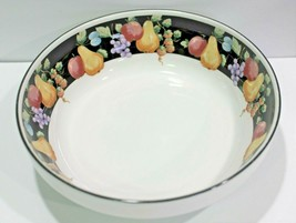 Sango Fanciful Fruit Black Band Pears Grapes Apples Berries White Cereal Bowl - $11.69
