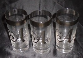 Vintage Dorothy Thorpe Monogram A Highball / Water Glasses Lot of 3 - $19.79