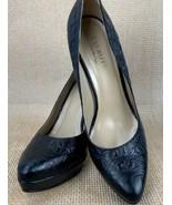 Talbots Black Leather Croc Leather Embossed Platform Heel Pumps 9.5B New - $78.20