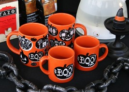 CRATE & BARREL HALLOWEEN MUGS - 2 ADULT, 2 CHILD -NWT- SCARE UP SOME FAM... - $37.46