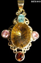 GOLDEN MYSTIC TOPAZ PENDANT in Sterling  with BLUE TOPAZ, GARNET and PIN... - $125.00