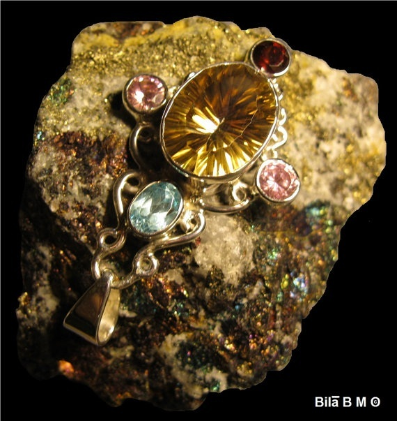 GOLDEN MYSTIC TOPAZ PENDANT in Sterling  with BLUE TOPAZ, GARNET and PINK QUARTZ