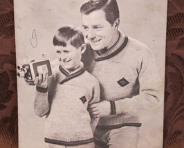 Vintage Mary Maxim Knitting Patterns FATHER and SON Pullover Sweaters  - $5.99