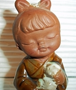 "UCCI Japan ""Little Girl with Kitten Cat"" Pottery Natural & Glazed Figurine  - $13.99"