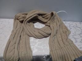 Calvin Klein Lurex Trim Cable Knit Scarf - HEATHER ALMOND , Orig :$58.00 - $17.47