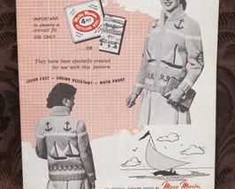 Vintage Mary Maxim Knitting Patterns ADULTS TEENS Cardigan Sweater SAILBOATS - $6.99