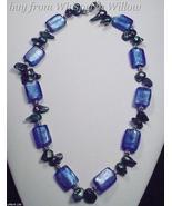 Blue Colored Glaze Lampwork Fashion Necklace  - $24.00